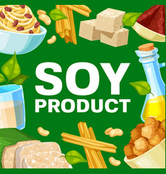 Soy products and soybean food vector