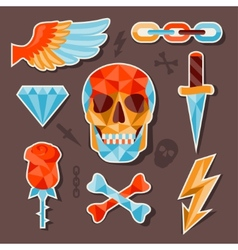 Stickers skull and elements for design vector