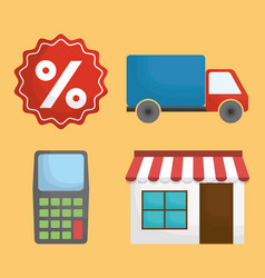 Store and shopping related icons vector