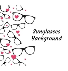 Sunglasses and hearts background vector