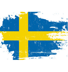Swedish scratched flag vector
