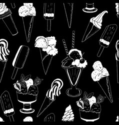 sweet ice cream seamless pattern on black vector image