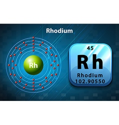 Symbol and electron diagram for Rhodium vector