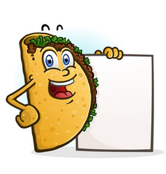 taco cartoon character holding a sign board vector image