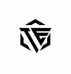 te logo monogram with triangle and hexagon modern vector image