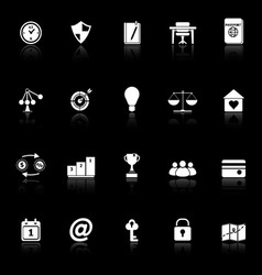 Thinking related icons with reflect on black vector image