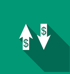 up and down arrows with dollar symbol icon vector image