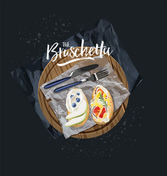 vegetarian bruschetta with blueberries and figs vector image