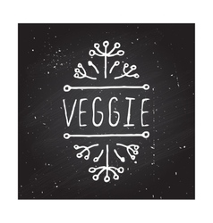 Veggie product label on chalkboard vector