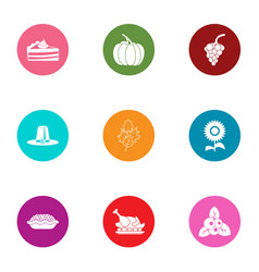 Victuals icons set flat style vector