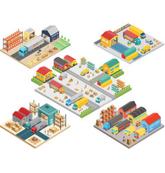 warehouse isometric concept with workers vector image