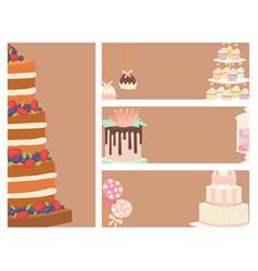 wedding cakes fresh tasty dessert sweet pastry pie vector image