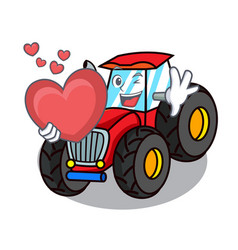 With heart tractor mascot cartoon style vector