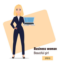 young cartoon businesswoman standing beautiful vector image