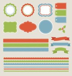 Christmas Labels Borders Ribbons Tags Set vector image