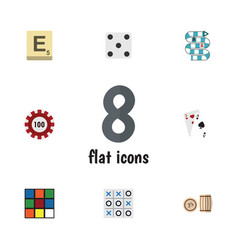 flat icon play set of ace mahjong cube and other vector image vector image