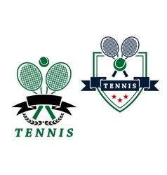 Heraldic tennis emblems or badges vector image