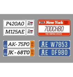 License car number plates set usa vector