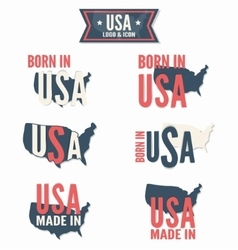 Set of Made in the USA and Born in the USA vector image