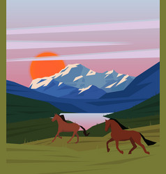 colorful sunrise nature scenery template vector image vector image