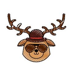 Cute scribble vintage deer face cartoon vector