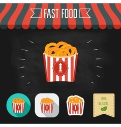 Fried squid rings icons on a chalkboard Set of vector image vector image