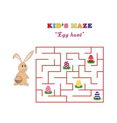 kids maze egg hunt with a cute easter rabbit vector image vector image