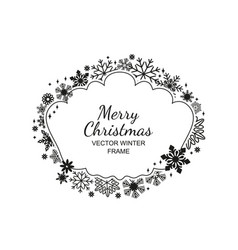 monochrome snowflake frame christmas design vector image vector image