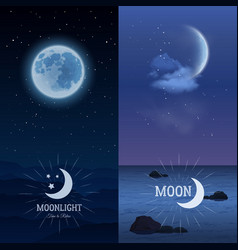 Moonlight banners vertical set vector image
