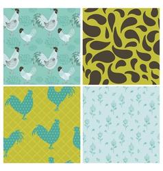 Set of Vintage Rooster Backgrounds vector image