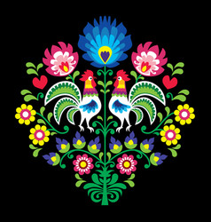 Polish folk pattern with roosters - floral vector