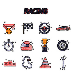 racing flat concept icons vector image
