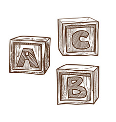retro wooden cubes with abc on side monochrome vector image