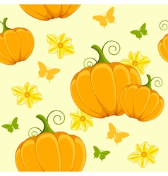 seamless pattern with pumpkin and butterflies vector image vector image