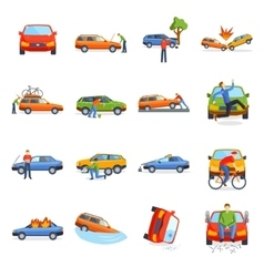 Auto accident involving car crash city street vector image vector image