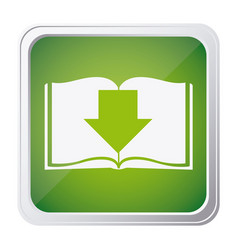 button icon of book with arrow down with vector image