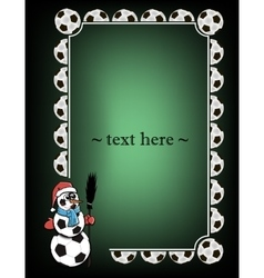 Frame with soccer balls and snowman vector image