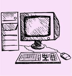 Retro desktop computer monitor vector