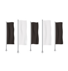 Row of black and white vertical banner flags vector