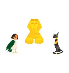 Sphinx harpy and black cat symbols of egypt vector