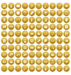100 meeting icons set gold vector