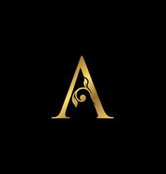 A letter floral gold logo classy drawn emblem vector