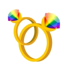A pair of rings with rainbow diamonds cartoon icon vector