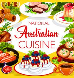 Australian cuisine food menu chicken and fish dish vector