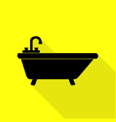 Bathtub sign black icon with flat vector