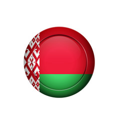 belarus flag on the round button vector image