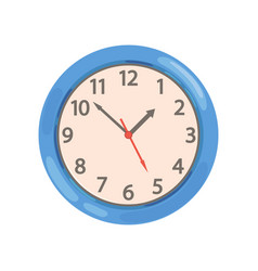 Blue round wall clock on a vector