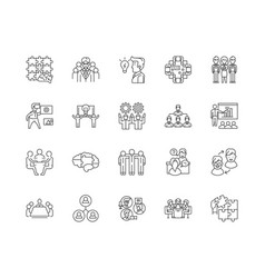 Brainstorming line icons signs set vector