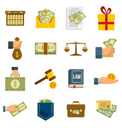 Bribery icons set flat isolated vector