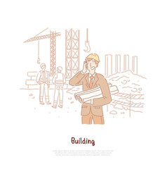 Building industry engineer foreman builder vector